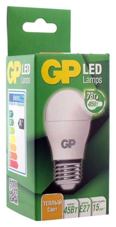 Лампа светодиодная GP 7Вт (60вт), е27, шар, 2700к, 560лм  GР