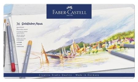 Карандаши акварельные Faber-castell Goldfaber Aqua, 36цв,метал.короб,114636  Faber-castell