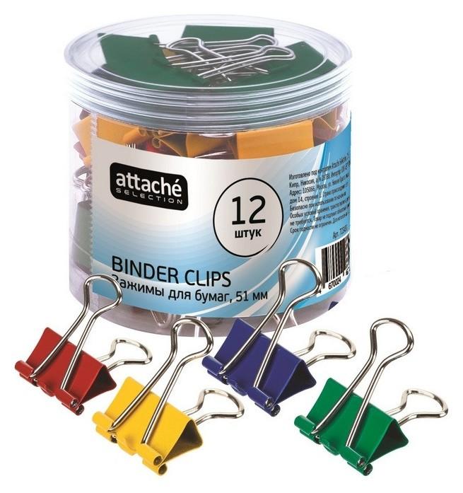 Зажим для бумаг Attache Selection, 51мм, 12 шт, цветные, пласт.уп  Attache