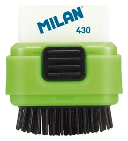 Ластик каучуковый Milan Compact в пластиковом чехле с щёткой, цв в асс  Milan