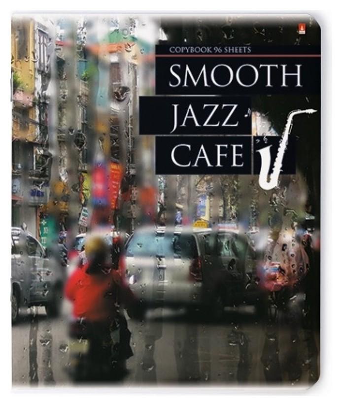 Тетрадь общая а5,96л,кл,скрепка Jazz Cafe 7-96-977  Альт