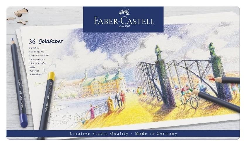 Карандаши цветные Faber-castell Goldfaber 36цв.,кругл, метал.кор, 114736  Faber-castell