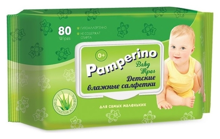 Салфетки влажные Pamperino детские 80шт в упаковке с клапаном  Pamperino