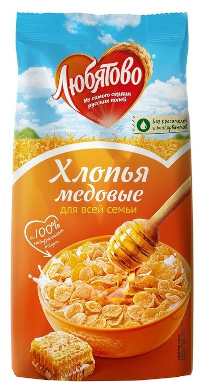 Завтрак хлопья кукурузные медовые любятово, 250г  Любятово