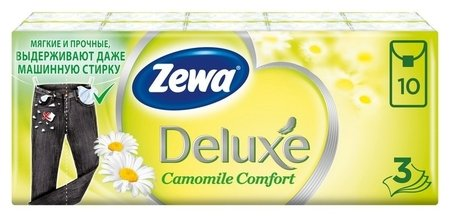 Платки носовые Zewa Deluxe с аром ромашка 3сл 53107 бел 10штх10  Zewa