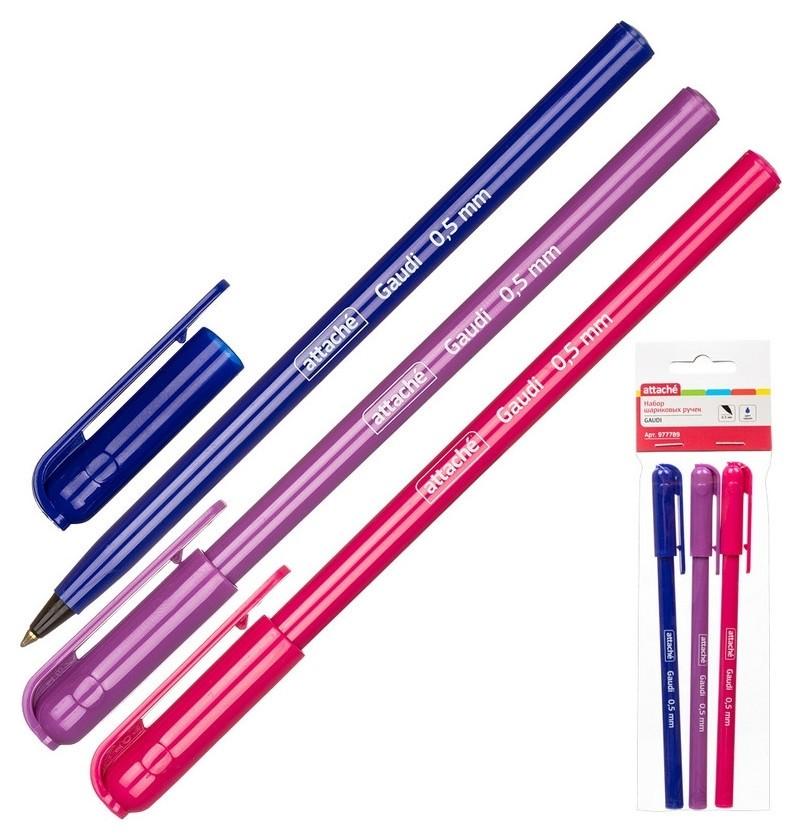 Ручка шариковая Attache Gaudi, 0,5мм, синий, неавт., б/манж.,3 шт/уп.  Attache