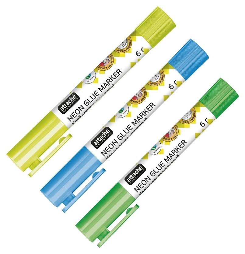 Клей-маркер Attache Selection 6г в форме ручки неоновые цвета  Attache