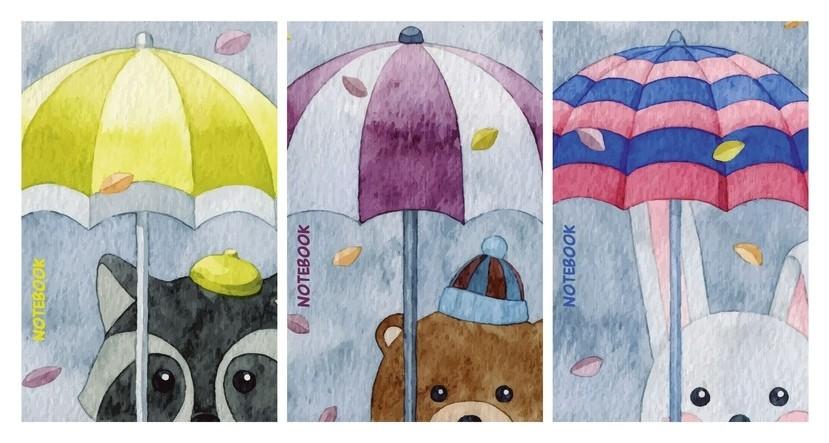 Блокнот а7,40л,клетка,гребень,облож.вдлак звери под зонтиком 9636/3 в ассор  Academy Style