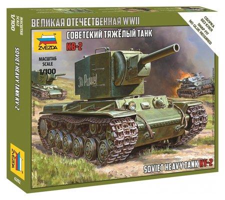 Сборная модель сов. тяжёлый танк кв-2, 1/100, 6202  Звезда