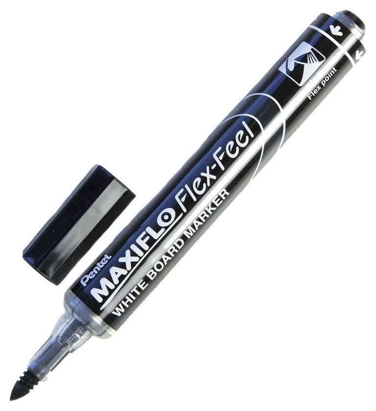 Маркер для досок Pentel Maxiflo Flex-feel гибкий након., черный, 1.0-5.0мм  Pentel