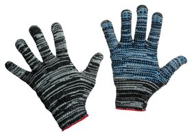 Перчатки защитные трикотажные с ПВХ точка 4 нити 42г 10кл графит 300пар/уп  NNB