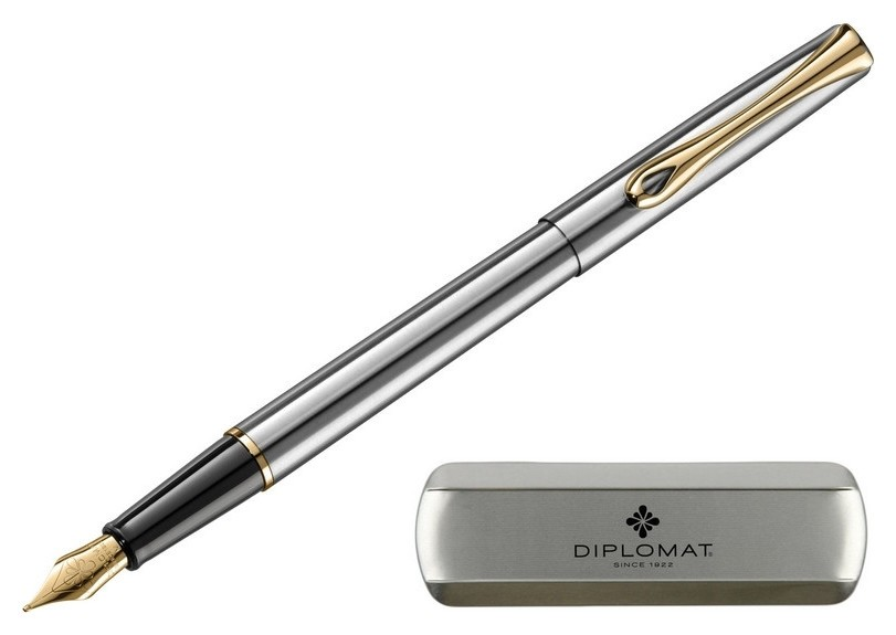 Ручка перьевая Diplomat Traveller Stainless Steel Gold F синий D10057453 Diplomat