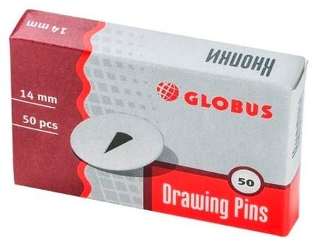 Кнопки Globus канцелярские металлические 14 мм, 50 шт. карт.уп  Globus