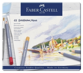 Карандаши акварельные Faber-castell Goldfaber Aqua, 48цв,метал.короб,114648  Faber-castell