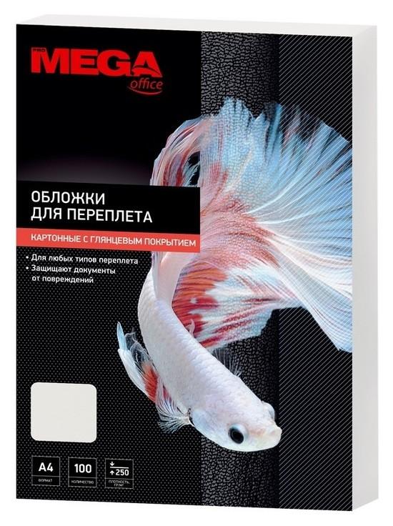 Обложки для переплета картонные Promega Office бел.гляна4,250г/м2,100шт/уп.  ProMEGA