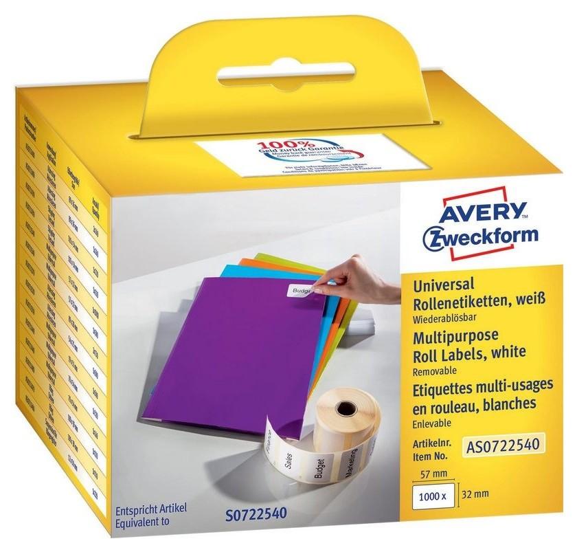 Этикет-лента Avery Zweckform As0722540 57x32мм 1000шт для Dymo  Avery Zweckform