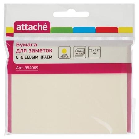 Блок-кубик Attache с клеев.краем 76х127 жёлтый 100л.  Attache