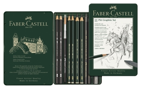 Набор карандашей ч/г Faber-castell Pitt Graphite,11 предм, метал.кор,112972  Faber-castell