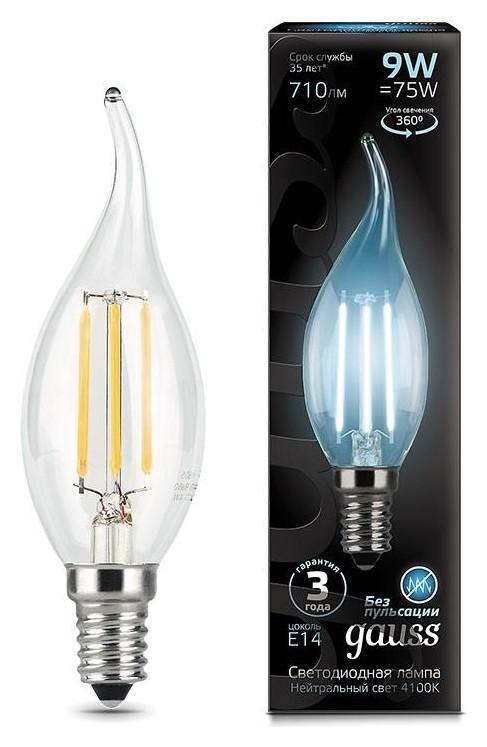 Лампа светодиодная Gauss LED Filament свеча на ветру E14 9Вт 710лм 4100k  Gauss