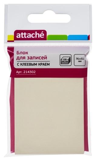 Блок-кубик Attache с клеев.краем 76х51 желтый 100л.  Attache