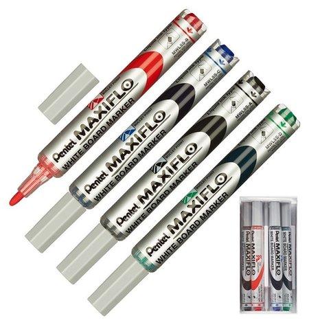 Набор маркеров Для досок Pentel Mwl5s-4n 4шт./уп. + губка  Pentel