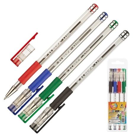 Ручка шариковая Beifa 4цв/набор с резин.манжет. аа999-4 китай  Beifa
