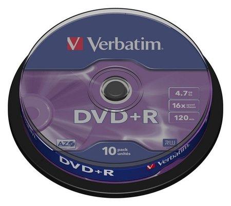 Носители информации Dvd+r, 16x, Verbatim Azo Matt Silver, Cake/10, 43498  Verbatim