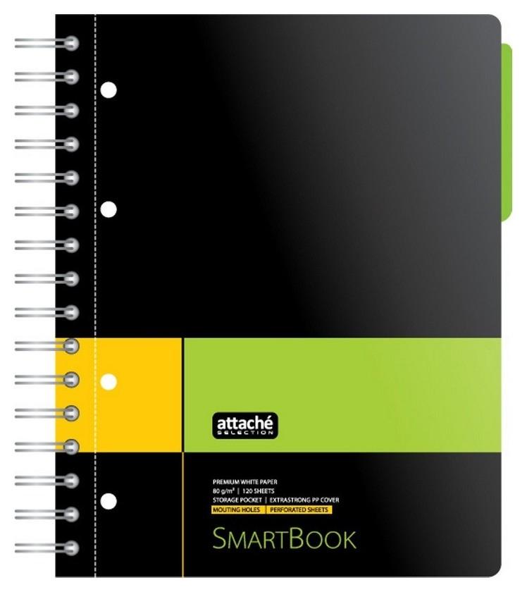 Бизнес-тетрадь Smartbook А5 120л. линейка,спир,микроп,разд,карм,жел-зел  Attache