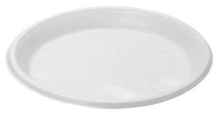 Тарелка одноразовая  диам.205мм пластик., бел., комус, ПС 100шт./уп  Комус