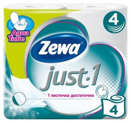 Бумага туалетная Zewa Just1 4с бел 100%цел втул 12,3м 90л 4рул/уп 144113  Zewa