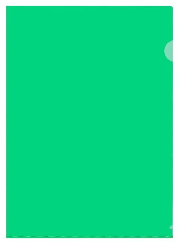 Папка уголок E-310 180мкр жест.пластик А4 зеленая прозр.россия 10шт/уп  Attache