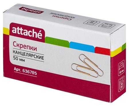 Скрепки Attache золотистые, 50 мм., металлические, 50 шт.в карт.уп  Attache