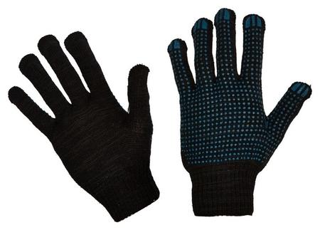 Перчатки защитные трикотажные ПВХ точка 4 нити 43г 10 класс черные 10пар/уп  NNB