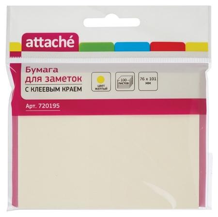 Блок-кубик Attache с клеев.краем 76х101 жёлтый 100л.  Attache