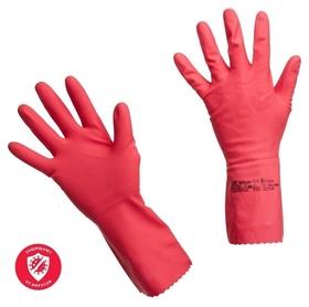 Перчатки резиновые Vileda Profes латекс хлопков.напыл красный р-р S 100749  Vileda