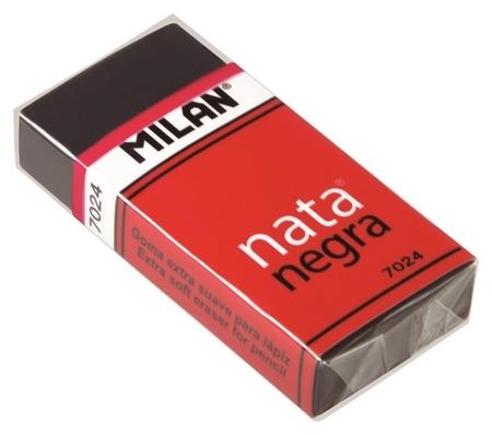 Ластик пластиковый Milan 7024, мягкий, черный, в карт.держателе  Milan