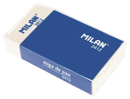 Ластик каучуковый Milan 2412 для стирания графита, для рисования, белый  Milan