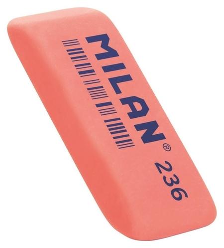 Ластик пластиковый Milan 236 скошенной формы, флюоресцентный, цв.в ассорт.  Milan