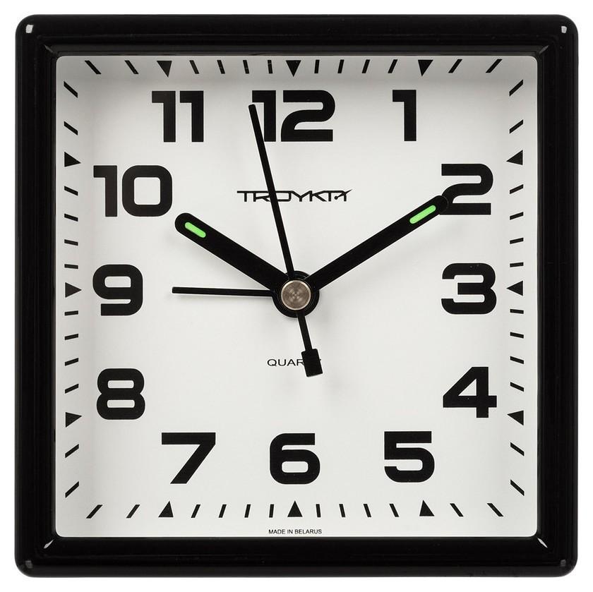 Часы будильник, пластиковый 95x95мм, с сигналом 08.00.801  Troyka