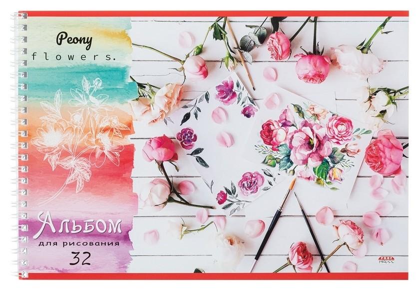 Альбом для рисования А4 32л,гребень,обл.мел.карт. цветы И кисти 32-4414  Проф-пресс