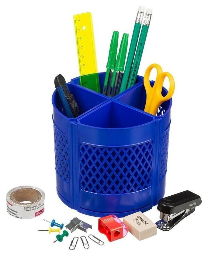 Набор настольный Attache квартет 15 предметов синий 8 отделений вращающийся  Attache