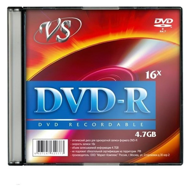 Носители информации Dvd-r, 16x, VS, Slim/5, Vsdvdrsl501  Vs