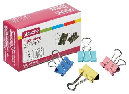 Зажим для бумаг цветные 19мм 12шт/уп Attache, в картонной коробке  Attache