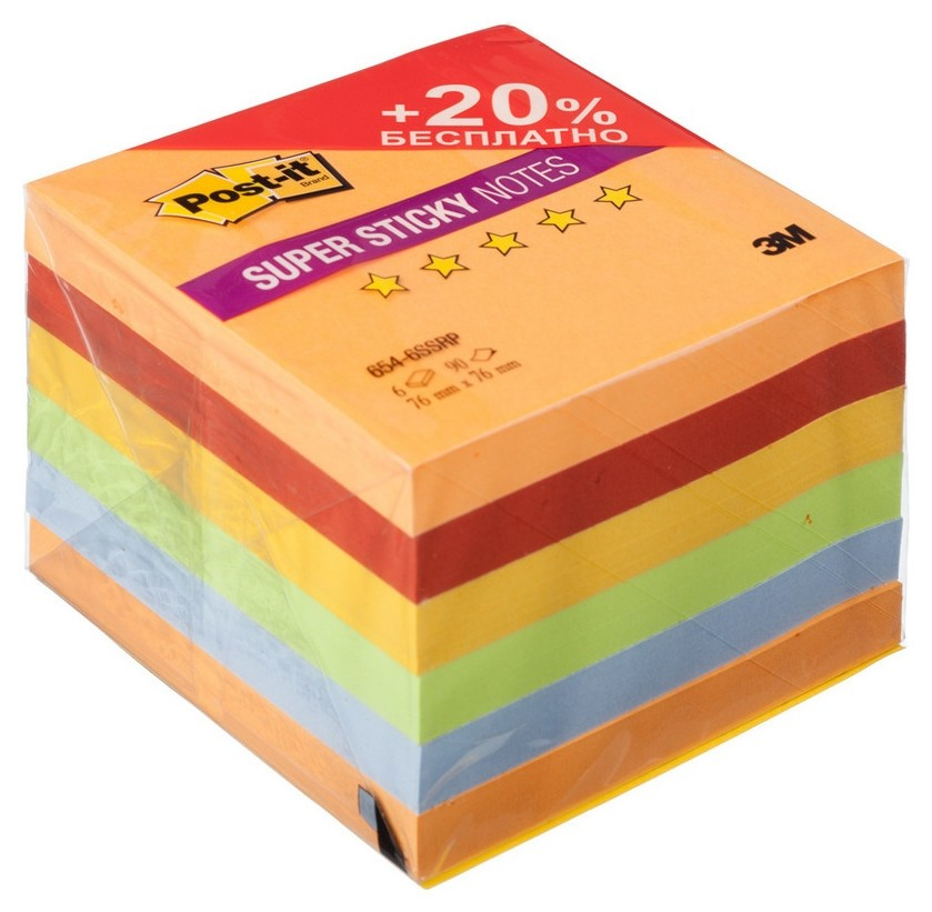 Блок-кубик Post-it Super Sticky 654-6ssrp огонь 76х76, 6бл х 90л.  Post-it