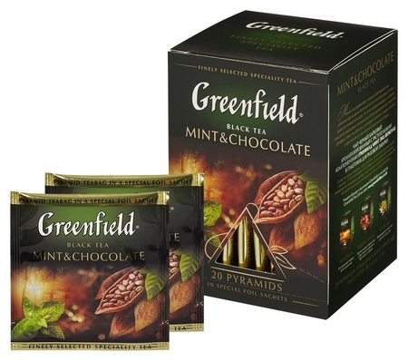 Чай Greenfield Mint And Chocolate черный фольгир. 20пак/уп 1135-08  Greenfield
