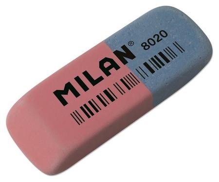Ластик каучуковый Milan 8020 комбинир. для стирания чернил и графита  Milan