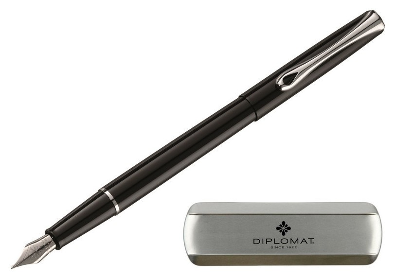 Ручка перьевая Diplomat Traveller Black Lacquer F синий D10424950  Diplomat
