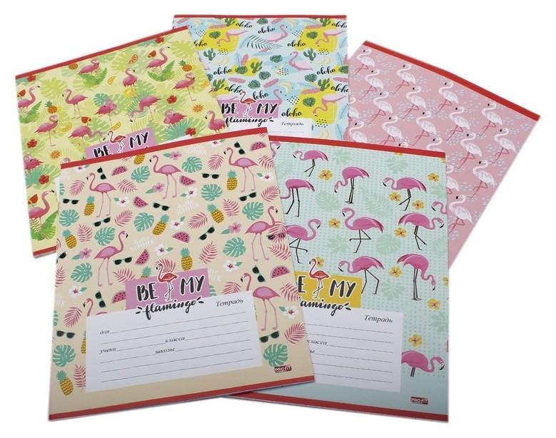Тетрадь школьная а5,12л,клетка фламинго 12-3492 5видов  Проф-пресс