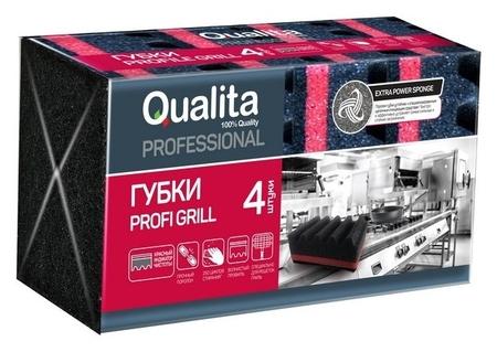 Губки для мытья посуды Qualita Profi Grill 4 шт/уп  Qualita