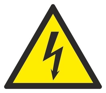 Знак безопасности W08 опасность поражения эл.током (Пластик,200х200)  Технотерра